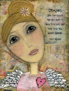 Mixed Media Art: Dream Girl Etsy