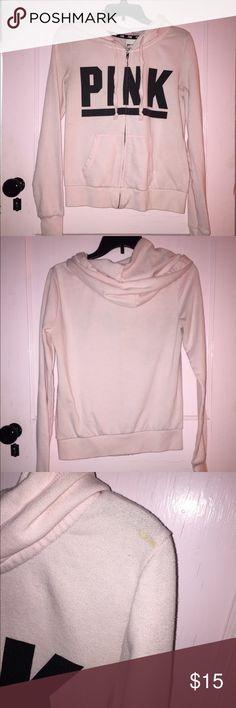 PINK hoodie Paw pink zip up hoodie. Has one small paint stain on shoulder can be seen in the last photo PINK Victoria's Secret Tops Sweatshirts & Hoodies