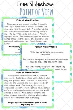 Point of View Slideshow Help your grade or grade students think about different aspects of point of view with this free slideshow.Help your grade or grade students think about different aspects of point of view with this free slideshow. Reading Strategies, Reading Skills, Teaching Reading, Guided Reading, Close Reading, Student Teaching, Reading Activities, Learning, 4th Grade Ela