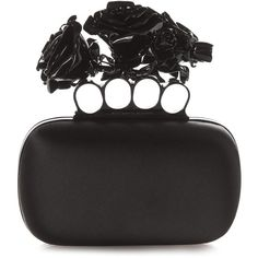 Alexander McQueen Rose Knuckle-duster satin clutch (2'280 CHF) ❤ liked on Polyvore featuring bags, handbags, clutches, purses, bolsas, black, black clutches, black satin purse, satin clutches and knuckle duster purse