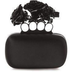 Alexander McQueen Rose Knuckle-duster satin clutch found on Polyvore featuring bags, handbags, clutches, purses, bolsas, black, satin handbags, rose handbag, black handbags and alexander mcqueen clutches