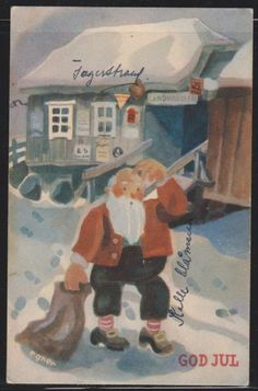a creative outlook on the art of dependence Merry Christmas And Happy New Year, Christmas Elf, Vintage Christmas, Christmas Cards, Christmas Postcards, Norwegian Christmas, Scandinavian Christmas, Vintage Postcards, Elves