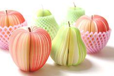 A la venta de fruta fresca Memos kawaii Manzanas rojas verdes Peras Papel Dulce Mensaje Notas lindo Papel de la escuela lindo memo | Lenus.me