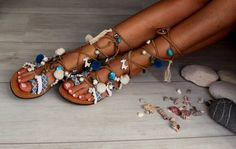 "Tie Up Gladiator Sandals, Greek Sandals, Semi Precious Stones, Swarovski, Pom Pom, Boho Sandals, ""Wave"""