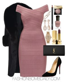 """Untitled #2103"" by dnicoleg ❤ liked on Polyvore featuring Elie Saab, Hervé Léger, Yves Saint Laurent, NARS Cosmetics, Deborah Lippmann, Nadri, Rolex, Christian Louboutin and Bobbi Brown Cosmetics"
