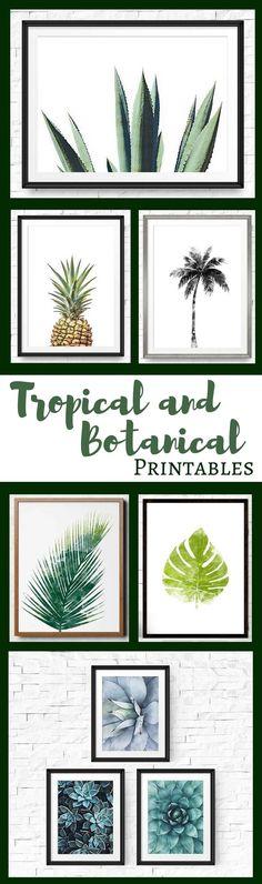 Tropical & Botanical printables perfect for wall art and gallery walls #printable #tropical #botanical #ad #etsyseller
