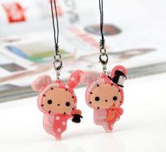 rubber rabbit couple phone pendant