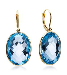 Getana & Co.- Greenwich Collection 14K Yellow Gold Blue Topaz Earrings