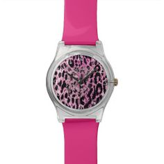 Hipster Pink Trendy Cheetah Animal Print Pattern Watches