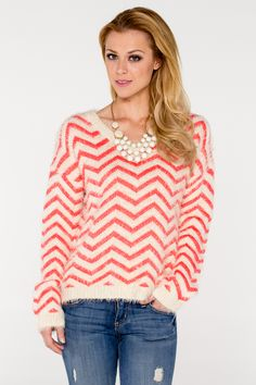 Fuzzy Chevron Sweater - Women's Clothing and Fashion Accessories   Bohme Boutique