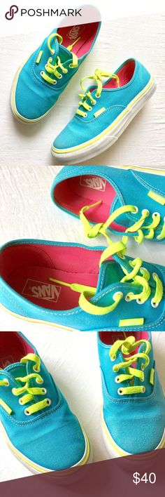 Vans Kids Bright Blue & Neon Green Canvas Sneakers Beautiful Bright Blue Canvas VANS with Neon Yellow Stripe and Laces. Kids Size 3.0 US. Cute pink treds & soles! Treads and soles are in excellent condition--see pic. Two minor stains on canvas as shown--see last two pictures. Some scuffs on the white rubber bottoms as shown.  Vans logo on back of shoe has worn off some, as shown. No odors. Smoke free home. Vans Shoes Sneakers