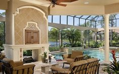 Diy Interior Furniture, Interior Design, Two Sided Fireplace, Mediterranean Style Homes, Tuscan Decorating, Outdoor Living, Outdoor Decor, Pool Houses, Custom Homes