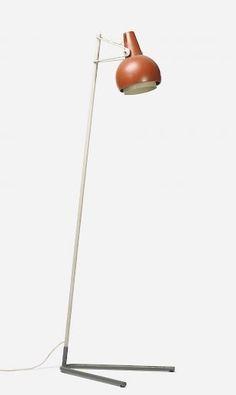 Louis Kalff; Enameled Steel and Aluminum Floor Lamp, c1950.