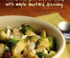 Warm Brussels sprouts, almond and goat cheese salad with maple mustard dressing {vegetarian, gluten-free} - The Perfect Pantry®
