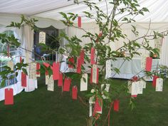 Unusual marquee decor: Real tree table plan for a marquee wedding