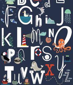 Ocean Bedroom Kids, Boys Nautical Bedroom, Nursery Neutral, Navy Nursery, Alphabet Book, Baby Boy Or Girl, Cat Colors, Animal Nursery, Ocean Beach