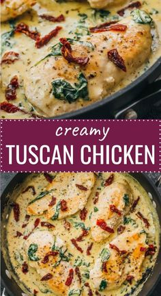 Tuscan Chicken With Sun-Dried Tomatoes & Creamy Garlic Sauce Tuscan Chicken! This easy chicken skillet dinner has garlic, sun-dried tomatoes, and spinach in a creamy buttery sauce. It's a comforting one-pan meal that's low carb, keto, and gluten free. Low Carb Chicken Recipes, Low Carb Recipes, Vegetarian Recipes, Cooking Recipes, Healthy Recipes, Keto Chicken, Tuscan Garlic Chicken, Chicken Skillet Recipes, Chicken In Garlic Sauce
