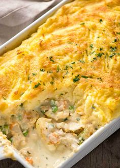 A Fish Pie fit for a king! Flakes of fish smothered in a creamy sauce, topped with mashed potato and a crunchy golden top. Use both smoked and unsmoked fish for best results - and it's economical!