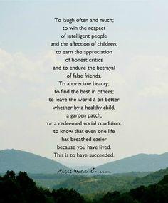 """Success"" - Ralph Waldo Emerson"