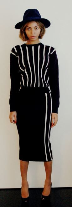 Who made Beyonce Knowles' white stripe sweater and black stripe skirt? Shirt and skirt – Joseph