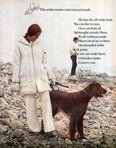 Ierse SETTER Sears Fashion Ad 1970 vrouw lopen hond door RoxyRani