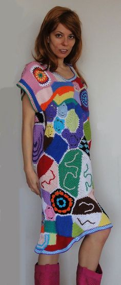 Exciting and beautiful crochet patchwork hippie dress por GlamCro