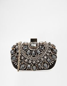 Enlarge ALDO Beaded Box Clutch With Chain Shoulder Strap