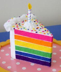 Rainbow felt cake