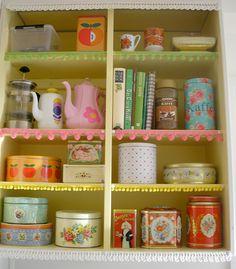 tins on shelves