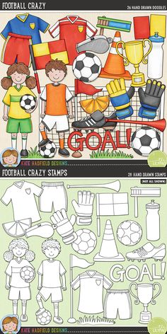 Football / soccer digital scrapbooking elements | Cute football kids clip art | Hand-drawn doodles for digital scrapbooking, crafting and teaching resources from Kate Hadfield Designs! Click through to see projects created using these illustrations!