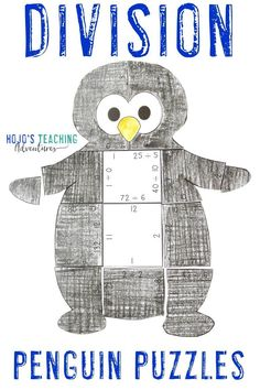 This blog post is full of great books, downloads, and a couple decoration ideas for your next penguin unit or theme. You'll find picture books, chapter books, math puzzles, and an editable download that's perfect for your 1st, 2nd, 3rd, 4th, 5th, or 6th grade students. Click through to check it all out for your Artarctica, winter, or penguins theme. This is the division penguin puzzle.