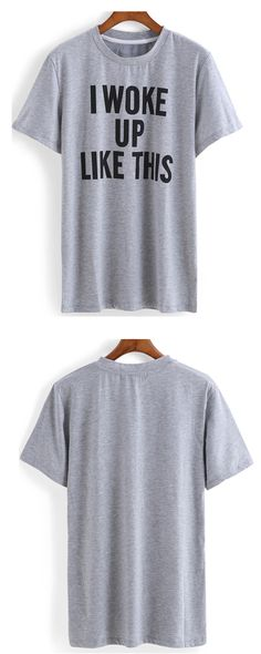 """Grey Letters Print T-Shirt.""""I WORK UP LIKE THIS """"Casual &Cool!Up to 60% off at romwe.com!"""