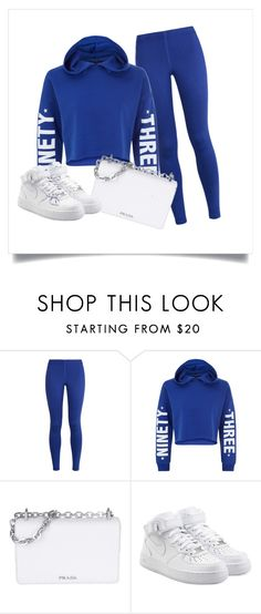 """""""blue"""" by kaliayh-butler on Polyvore featuring NIKE, New Look and Prada"""
