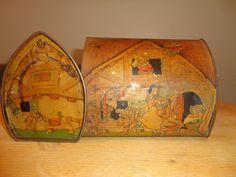 old Vintage Fairy Tale Tins Snowwhite 7 Dwarfs Disney Tin VERY RARE OLD USED