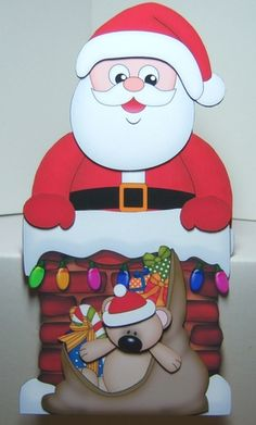 3D On the Shelf Card Kit - Christmas Santa is taking the Presents down the Chimney - Photo by Katie Silver