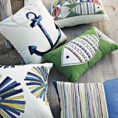 Outdoor Pillows from West Elm...love the nautical theme for the back patio!