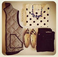 I like the polka dot top with the herringbone vest, paired with a black skirt or a denim skirt.