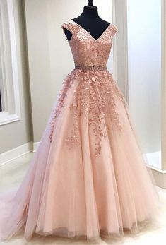 long prom dresses - Pink V Neck Tulle Lace Long Prom Dress, Pink Evening Dress Appliques Party Dress Chiffon Prom Dress Senior Prom Dresses, V Neck Prom Dresses, Pink Prom Dresses, Cheap Prom Dresses, Pretty Dresses, Quinceanera Dresses, Formal Dresses, Dress Prom, Pagent Dresses