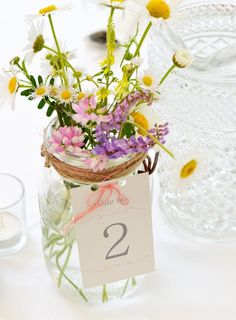 wedding table number tag - table number for mason jar, table number for centerpiece