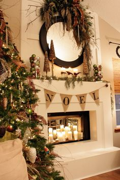 "Mantel decorated for Christmas.I love the ""Noel"" banner. Merry Little Christmas, Noel Christmas, Winter Christmas, All Things Christmas, Christmas Crafts, Rustic Christmas, Southern Christmas, Woodland Christmas, Elegant Christmas"