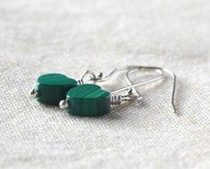 Natural Malachite Earrings Emerald Green by StellaZigantiDesigns, $12.00