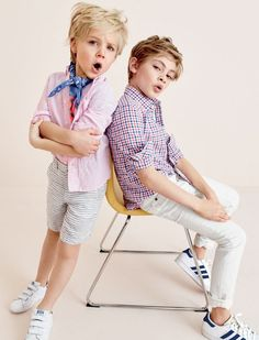 crewcuts kids' linen-cotton shirt, boys' glow-in-the-dark ship blueprint T-shirt, striped linen short, Kids' Adidas® Stan Smith™ sneakers, kids' linen-cotton shirt in mini check, boys' white jean in stretch skinny fit and Kids' Adidas® Superstar™ sneakers.