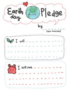 earth day pledge: good to review vocabulary and teach future verb tenses