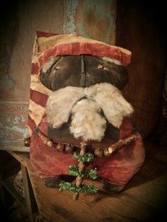 Primitive Black Santa Cupboard Hanger Doll Winter Christmas #NaivePrimitive