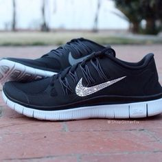 Image of Women's Nike Free 5.0 w/ Swarovski Rhinestones - Black NEED these!!!