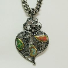 Portuguese aged silver filigree Viana heart by HelenaAleixoGlamour