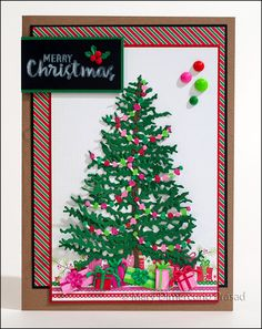 Awash with Color: Christmas Tree with Silk Glitter Garlands Card