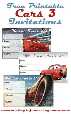 Free printable Cars 3 birthday  party printables