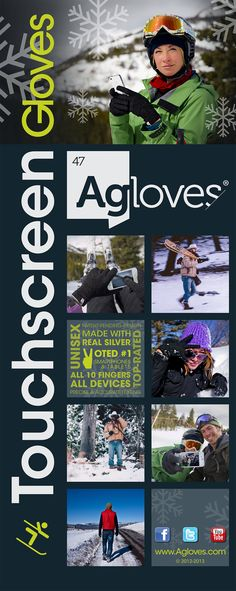 Agloves touchscreen gloves are the top-performing touchscreen glove on the market.  We are the official glove liner supplier to the US National Ski Patrol, and have been named the #1 touch glove by Inc. Magazine, Forbes Magazine, The Chicago Tribune and lifehacker.com.      You can text perfectly with these gloves on.  Use all ten fingers on all touch screen devices like iPhones, Androids, iPads, iPods, even in-car navigation systems.  Woohoo!    #goodstuff. www.Agloves.com
