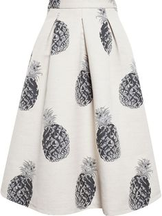 MSGM Pineapple Cotton Canvas Skir